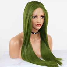 Fantasy High Temperature Heat Resistant Fiber Hair Long Straight Dark Green Synthetic Lace Front Wigs for Drag Queen Makeup(China)