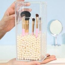 Acrylic Makeup Brush Box with Dustproof Lid Cosmetic Brush Organizer Storage Rack Nail