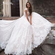 Adoly Mey glamuroso apliques corte tren A-Line vestidos de novia 2020 elegante cuello redondo manga de casquillo Vintage vestido de novia de talla grande