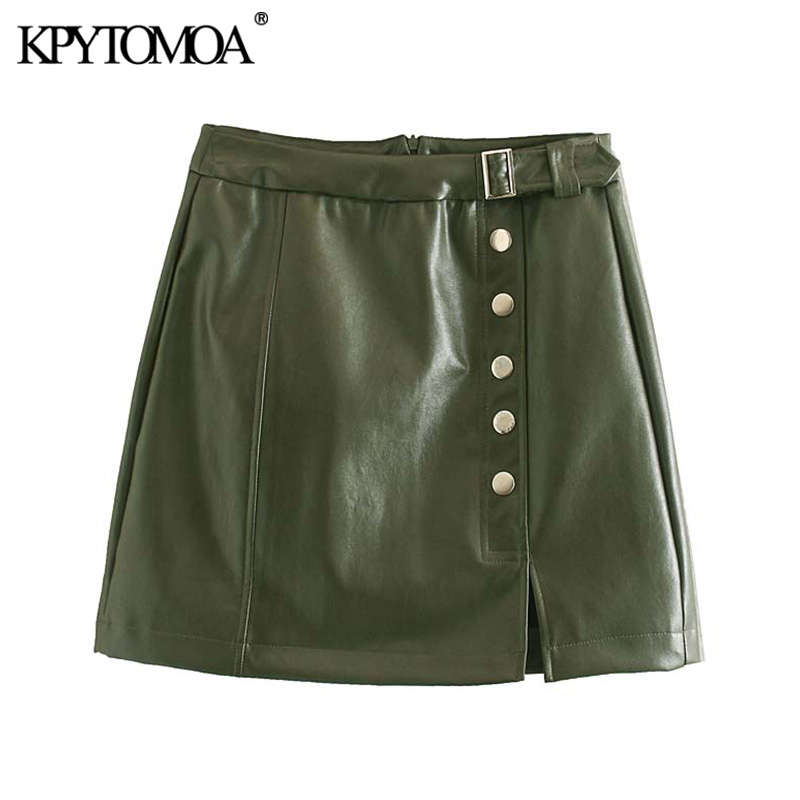 Vintage Stylish Buttons Faux Leather Mini Skirt Women 2020 Fashion A Line Back Zipper Office Wear PU Skirts Chic Faldas Mujer