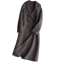 Classic coat Double-faced cashmere coats long elegant Womens coats winter New popular thousand bird plaid woolen coat female(China)