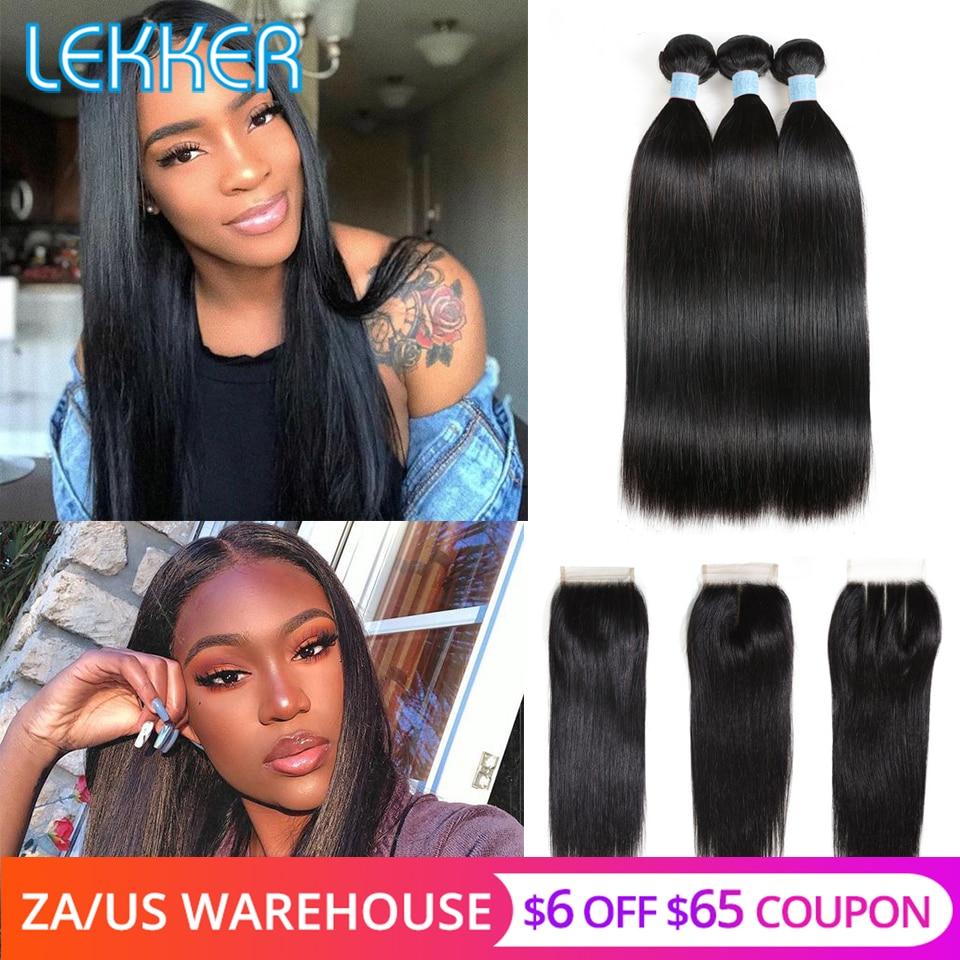 Lekker Straight Bundles With Closure Human Hair Bundles With Closure Brazilian Hair Weave Bundles With Closure Hair Extension