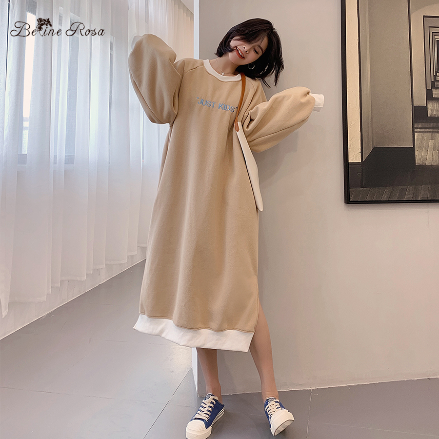 BelineRosa Womens Korean Casual Style Hoodies Dresses Embroidery Lantern Sleeve Winter Dress HM000001