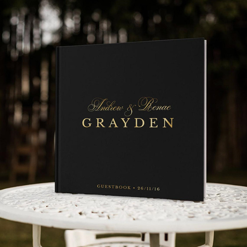 Foil gold modern wedding Guest Book custom black Guestbook birthday sign in book Photo album bridal party journal Color Choices