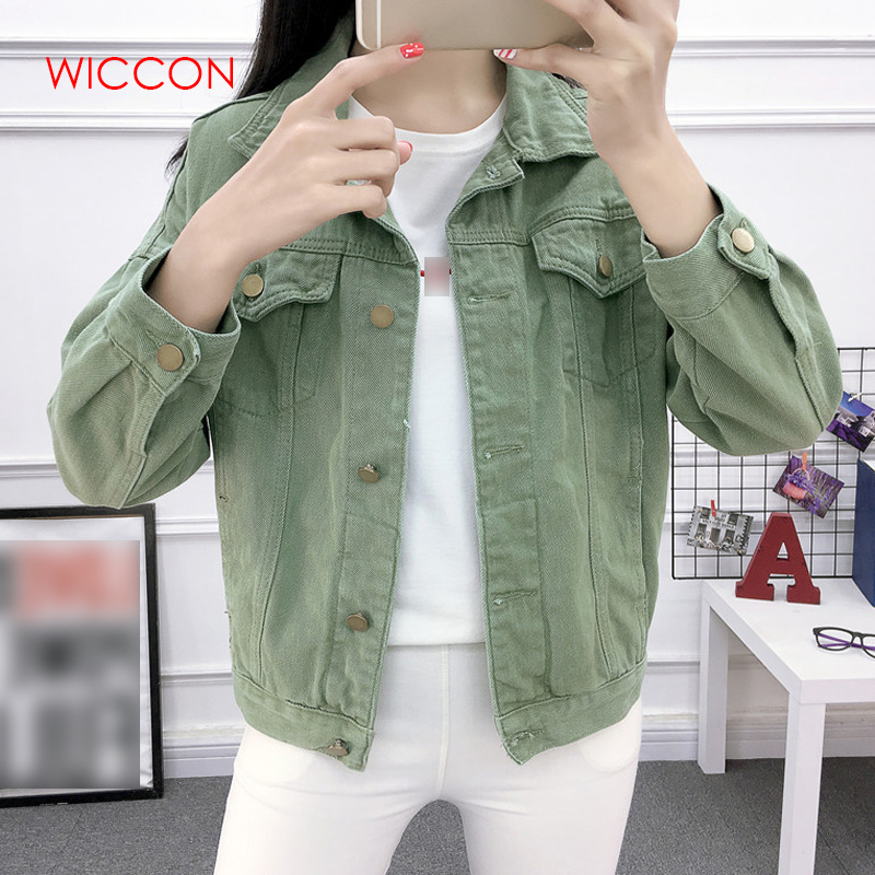 Women Beige Khaki Green Basic Bomber Jacket Denim Women's Loose Korean Female Coat Spring Autumn Woman's Jacket Jeans Casual