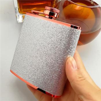 6 uncji wysokiej jakości czerwona płyta hip flask srebrna skóra owinięta premium ze stali nierdzewnej hip flask logo darmowe grawerowane tanie i dobre opinie Jinsong hip flask JSL006 Metal stailess steel 95x22x106cm 6oz
