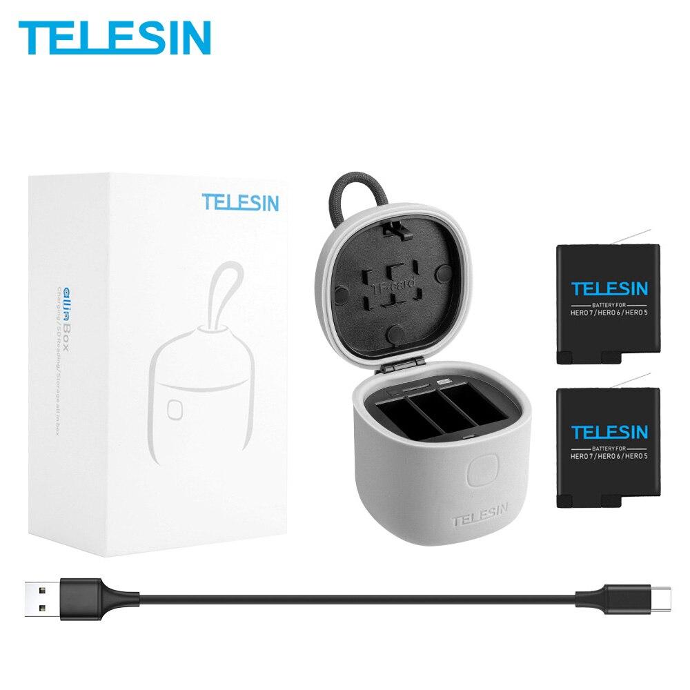 TELESIN 3PACK batterie & 3 emplacements chargeur Set TF lecteur de carte chargement boîte de rangement sac à dos Clip pour Gopro Hero 7 6 5 noir