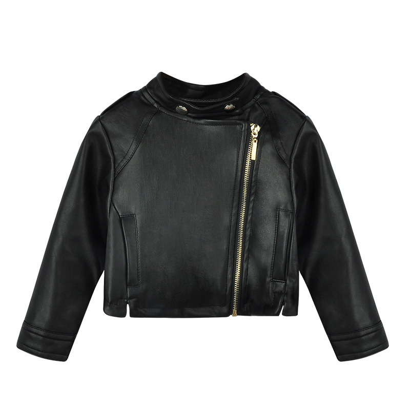 Girls PU jacket Spring Autumn children 39 s leather 2 6Y fashion black color zipper girls coat fashion girls jackets in Jackets amp Coats from Mother amp Kids