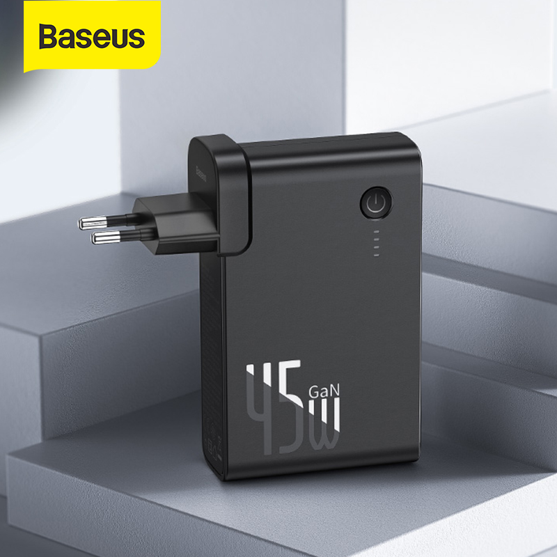 ( WORLD PREMIERE) Baseus 2 In 1 GaN Power Bank 10000mAh With USB Charger 45W PD Fast Charging For Phone Charger & Battery In One