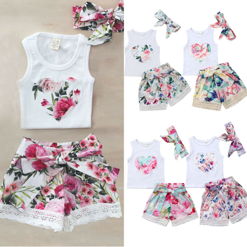 Casual Toddler Kids Baby Girls Summer Clothes Floral Vest Tops +Shorts Pants+ Headband 3PCS Outfits