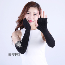 Mittens Fingerless Long-Gloves Cashmere Winter Women Sparsil Elbow with One-Hole Female
