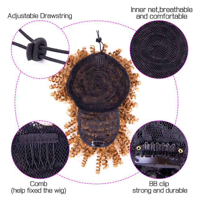 Leeons Ponytail High Hair Puff Clip In Hairpiece Afro Kinky Curly Synthetic Drawstring Ponytail With Bangs Hair Extensions Cheap|Synthetic Ponytails|   -