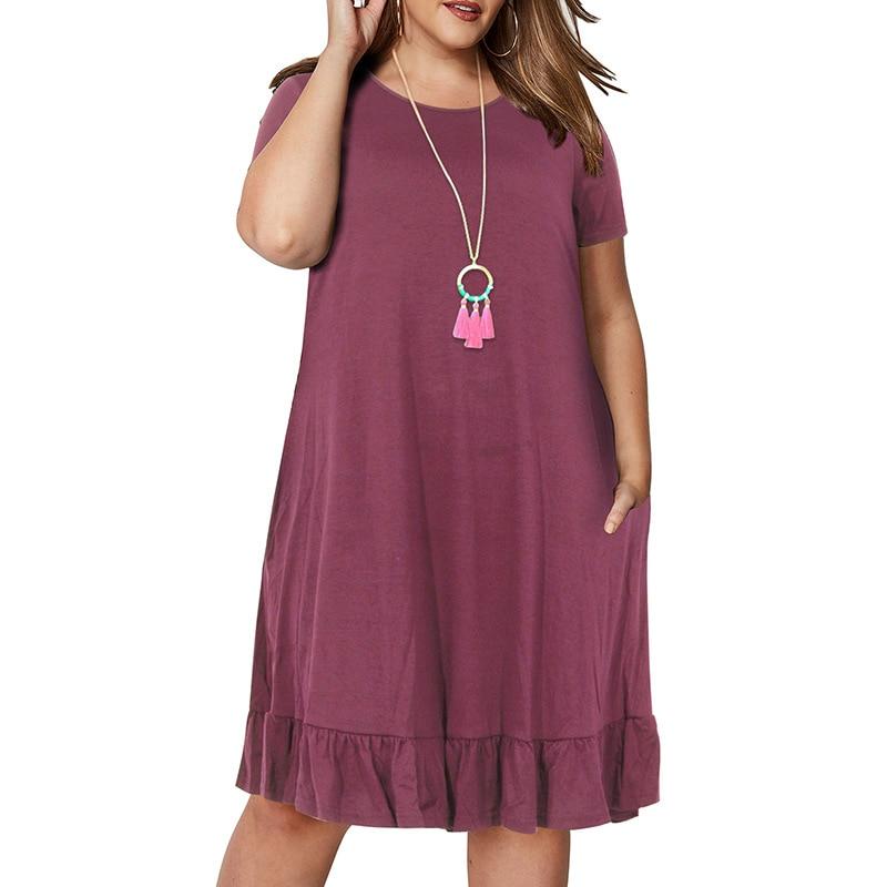 Spring Big size 9XL dress for Fat MM Woman dress Loose solid ruffles plus size women clothing 9xl dress  4