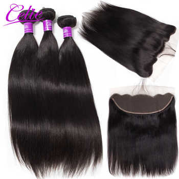 Celie Hair Brazilian Straight Hair Bundles With Frontal Remy Lace Closure Frontal With Bundles Human Hair 3 Bundles With Frontal - DISCOUNT ITEM  41% OFF All Category