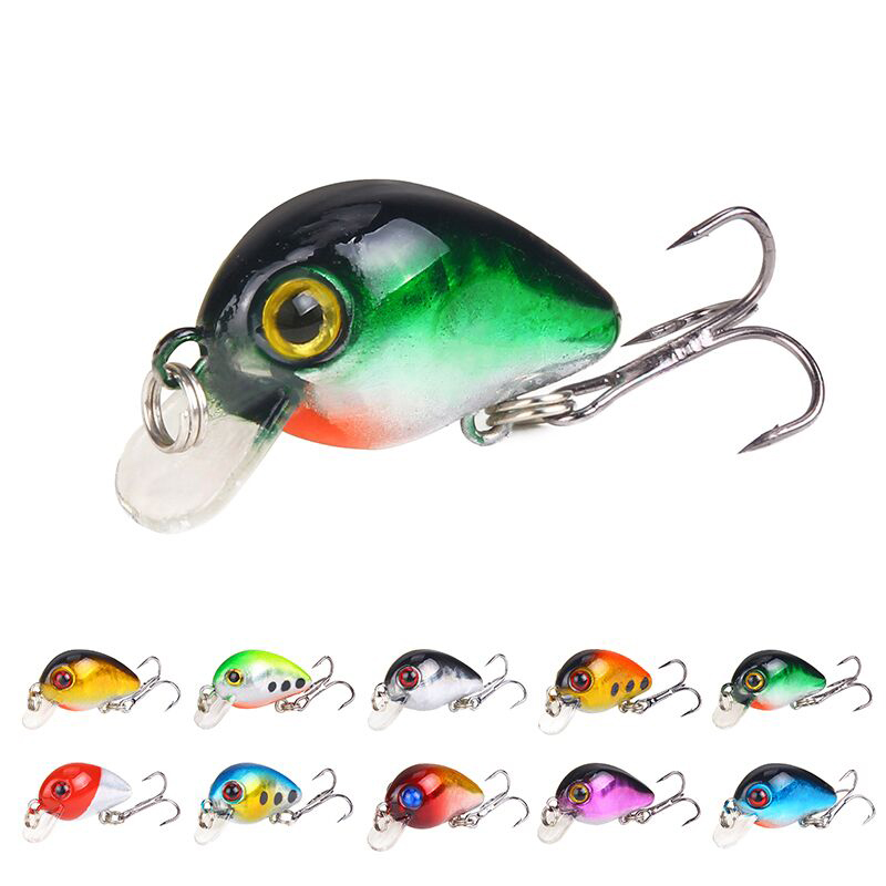 3cm/1.6g 10 color Rock and roll mini  Chubby fish lure plastic simulation bait