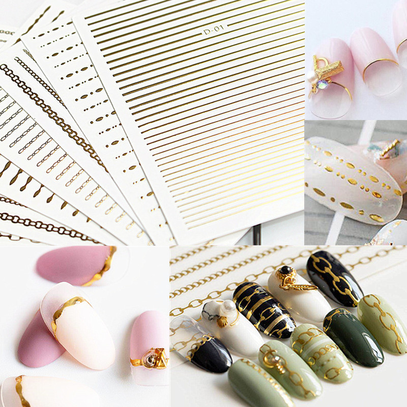 Japanese-style Nail Sticker Metal Wire Flexible Chain Gold And Silver Thread 3D Waterproof Nail Decals Gum DIY Jewelry