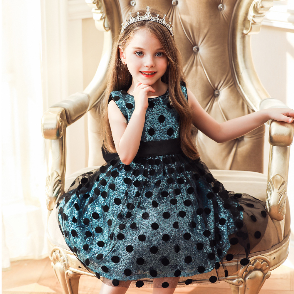 Europe And America Summer New Style Children Sleeveless Sequin Princess Dress Stage Performance Polka Dot Dress