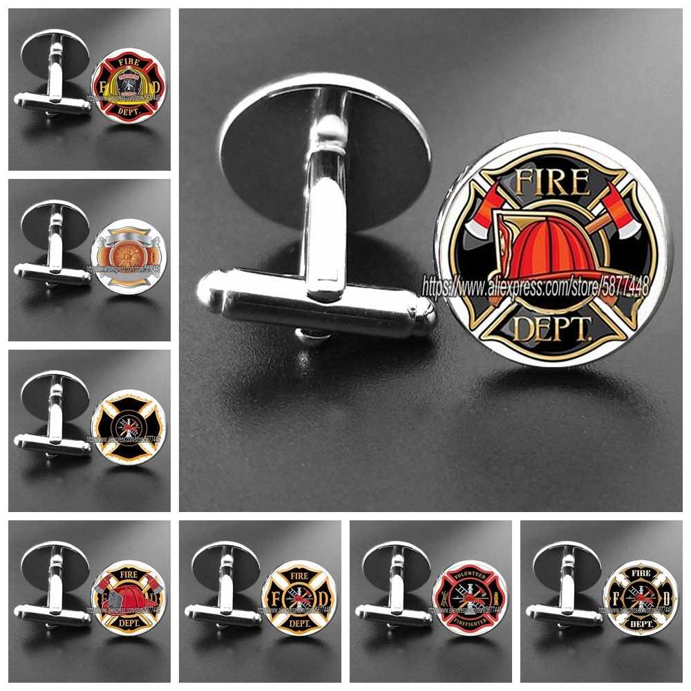 fireman cufflinks mens cufflinks novelty cufflinks cufflinks gift cufflinks set fire department cufflinks Red Fire Axe Cufflinks