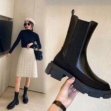 Ins quente mulher tornozelo botas de couro natural 22-24.5cm couro costura sarja chelsea botas cyberstar moda magro botas 2 cor