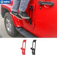 Mopai dobradiças da porta do carro pé resto pedal placa pé pegs acessórios para jeep wrangler jk jl 2007 + para jeep gladiador jt 2018