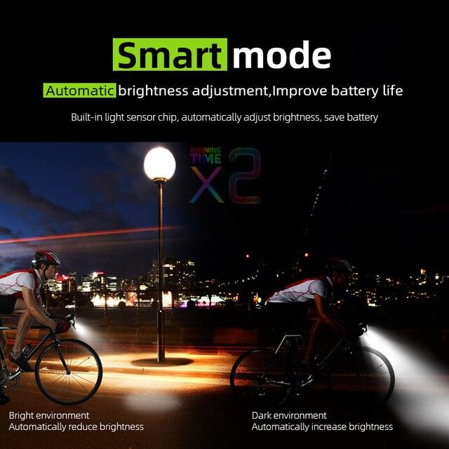 Luz inteligente de frontal da bicicleta, farol de led para bicicleta com indução de 4000mah e recarregável por usb, 800 lumen, duplo t6, lâmpada com buzina, lanterna para ciclismo 6