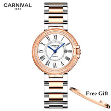Switzerland CARNIVAL 2020 Women Watches Top Brand Luxury Ladies Quartz Wristwatch Fashion Waterproof Clock Saat Relogio Feminino