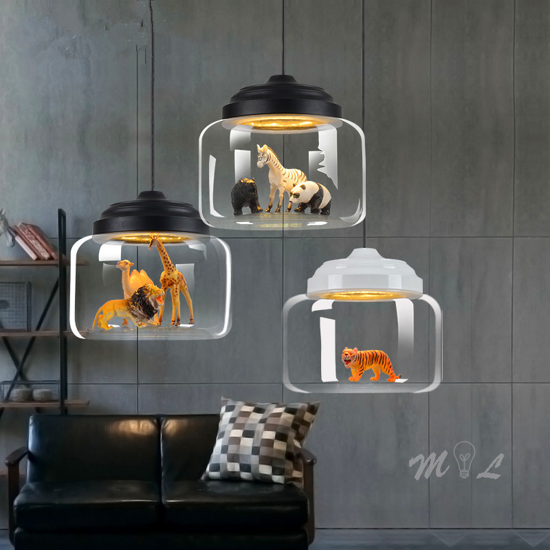 Nordic Cartoon Pendant Lights Led Cute Animal Hanging Lamps For Children Room Light Pendant Glass Lamp Bedroom Home Deco Gift