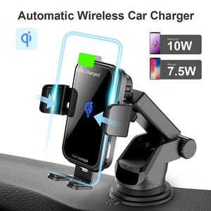 Image 2 - 10W QI Wireless Car Charger For Iphone X Samsung S10 Fast Charge Air Vent Dashboard Car Mount Auto Clamping Car Wireless Charger