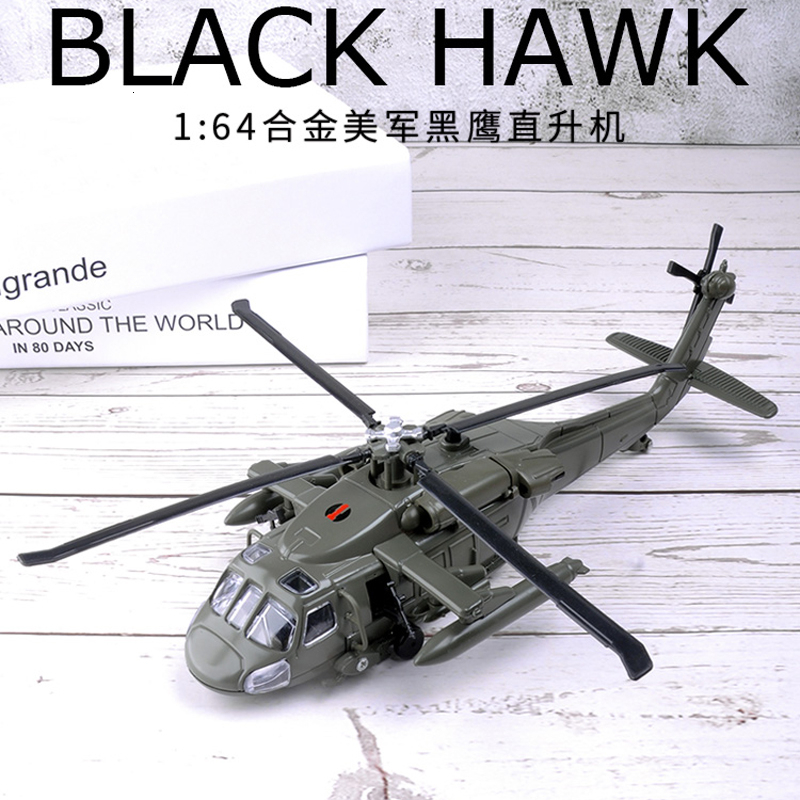 LED Flash 29CM 1/72 Scale Metal Black Hawk Helicopter Millitary Model Army Fighter Aircraft Airplane Adult Children Toy Military