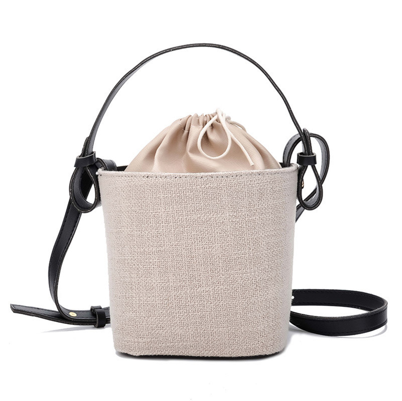 Summer 2021 new linen drawstring fairy bucket bag women's single shoulder bag portable literature and art bag
