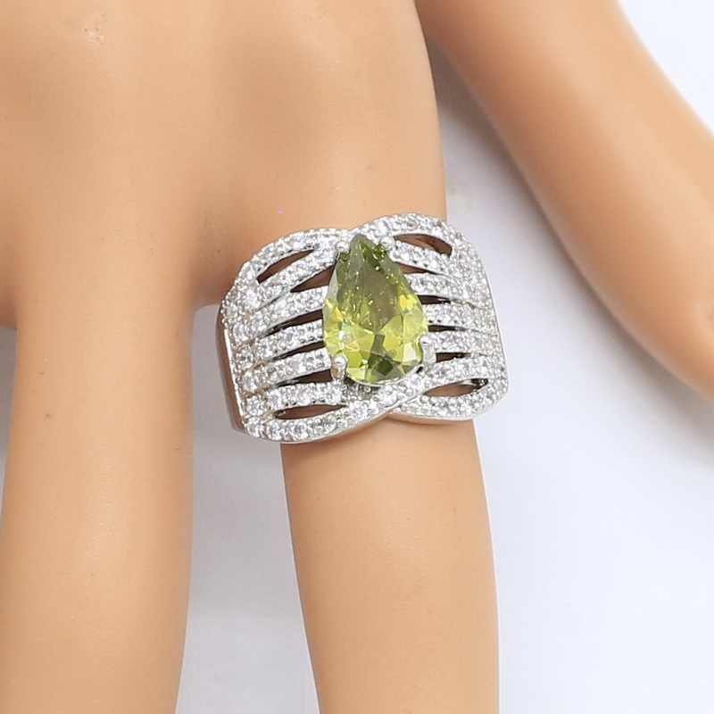 Water DROP OLIVE สีเขียว Peridot 925 เงินชุดเครื่องประดับสำหรับผู้หญิง Hoop ต่างหูแหวนสร้อยคอจี้เครื่องประดับ