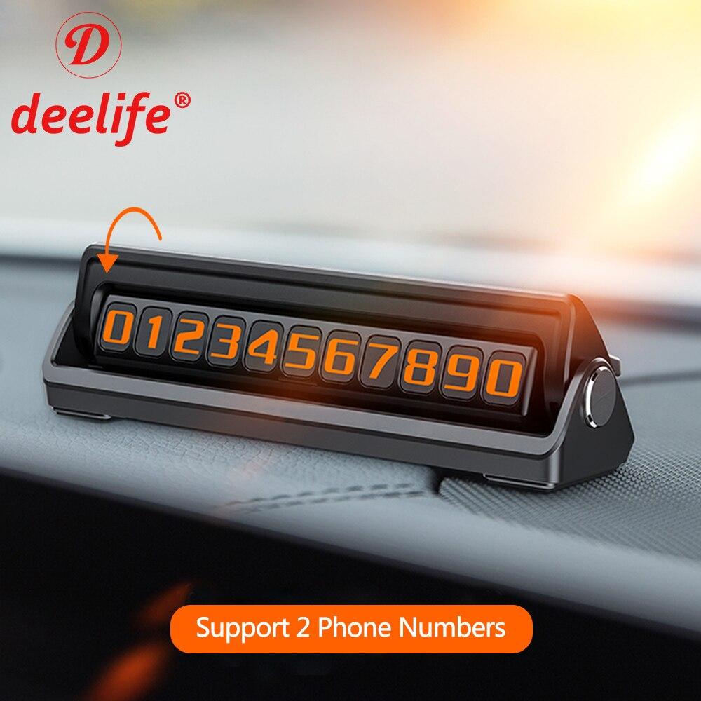 Deelife автомобильный номер телефона Временная парковочная карточка с 2 телефонными номерами скрытый флиппинг
