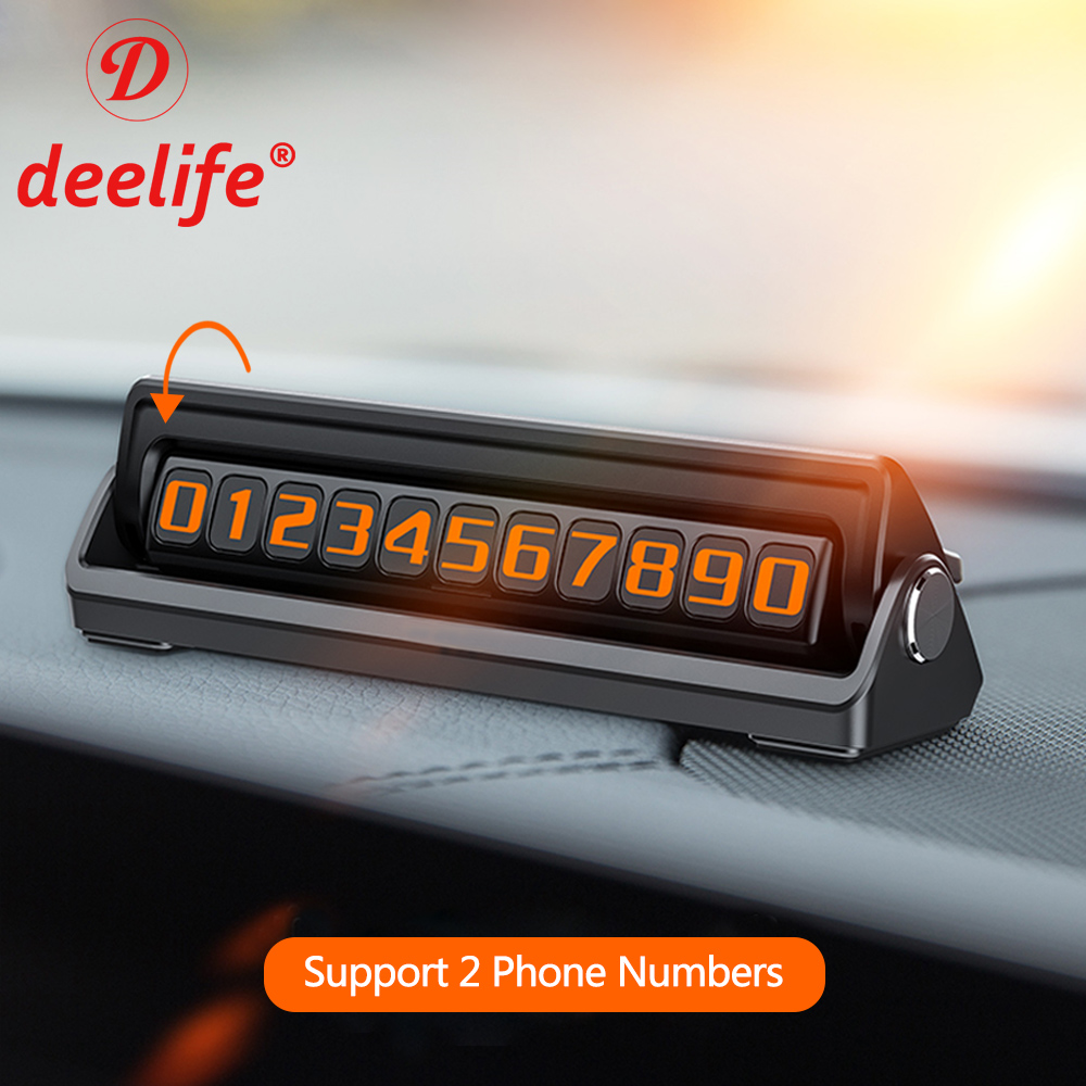 Deelife Parking Card Phone Number Plate in the Car
