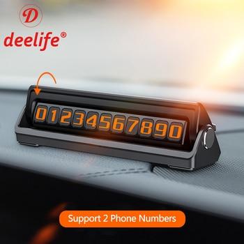 Deelife, número de teléfono para coche, placa de tarjeta de estacionamiento temporal con 2 números de teléfono ocultos