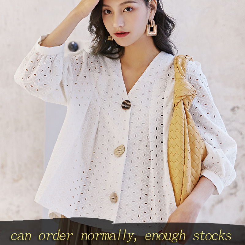 LANMREM Can Ship Pure Cotton Temperament Famale White Hollow Out Long Sleeve Shirt 2020 Spring Summer Fashion New Tops YH944