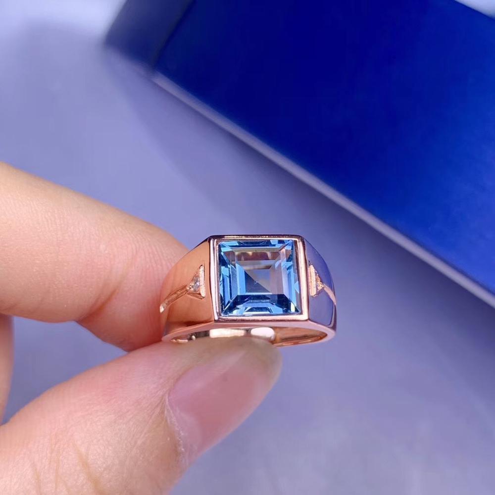 Bague homme noble bleu live 925 argent avec 8mm bague naturelle Simple et généreuse valeur