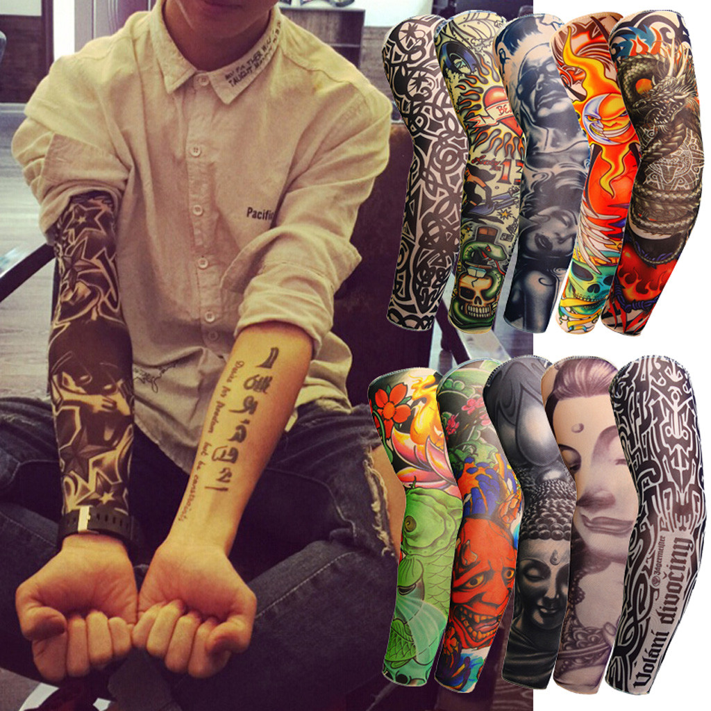 Unisex Summer Fake Tattoo Arm Sleeves For Men Unisex Women Sunscreen Arm T Shirt UV Protection Hip Hop Punk Slip On Tattoo