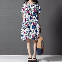 Korean-style Loose And Plus-sized WOMEN'S Dress Comfortable Big Flower Crew Neck Cotton Linen Dress(China)