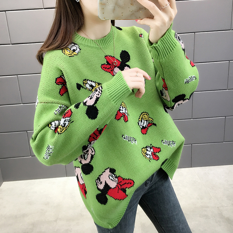 Milinsus Women Oversized Knitted Pullover Sweaters Kawaii Cartoon Mickey Mouse Jumper Loose New Korean 2019 Autumn Winter Top on AliExpress