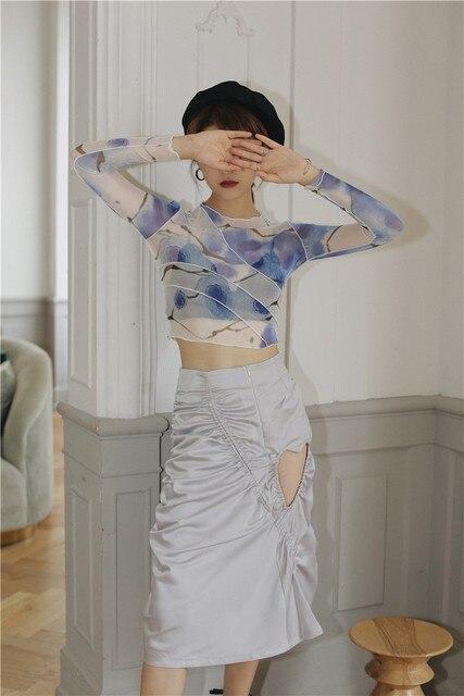 CHEERART Mesh Crop Top Long Sleeve T Shirt Women Printed Tshirt Transparent Ladies Tight Top Patchwork Summer Fashion 2020 4