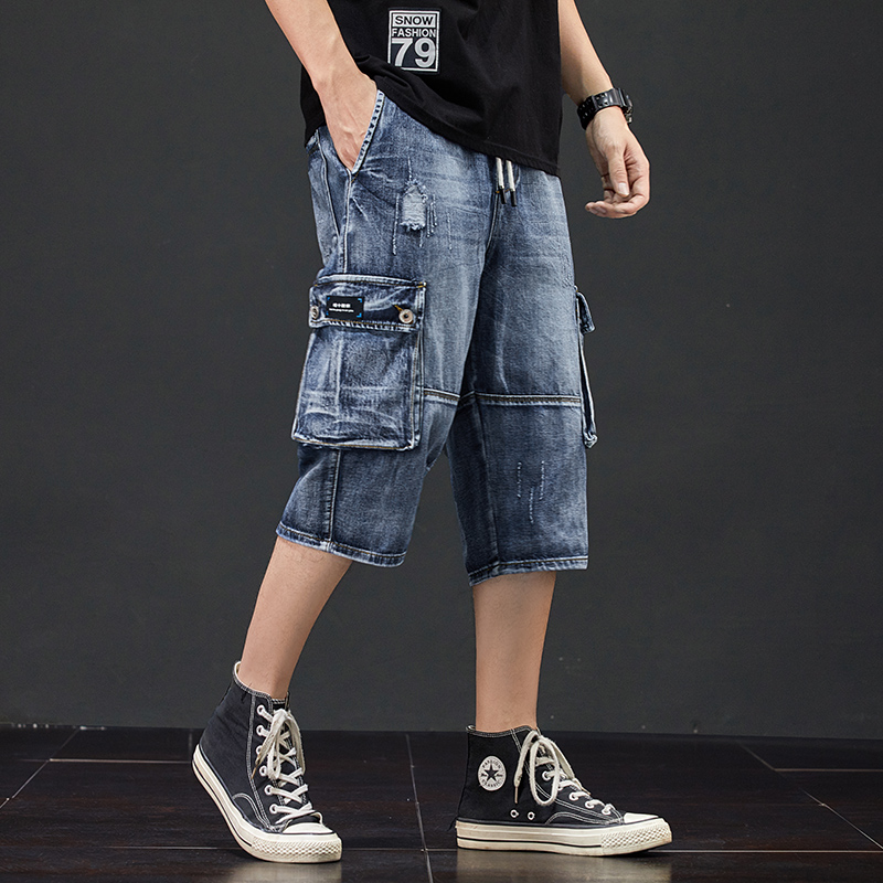 Denim Shorts Jeans 3/4 Men Hole Side Pockets Breeches Jean Destroyed Calf Pants Summer Destressed Trouser Male Style Cargo Jeans