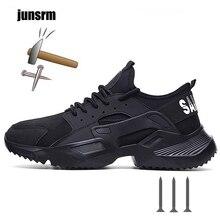 Новинка, размеры 36-46, легкая защитная обувь Мужская дышащая износостойкая рабочая обувь со стальным носком, не раздавливается и не прокалывается отличное сцепление