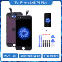 Elekworld-pantalla LCD de repuesto para móvil, montaje de digitalizador táctil sin píxeles muertos con regalo 100% probado, para iPhone 6, 6S, 7, 8 Plus