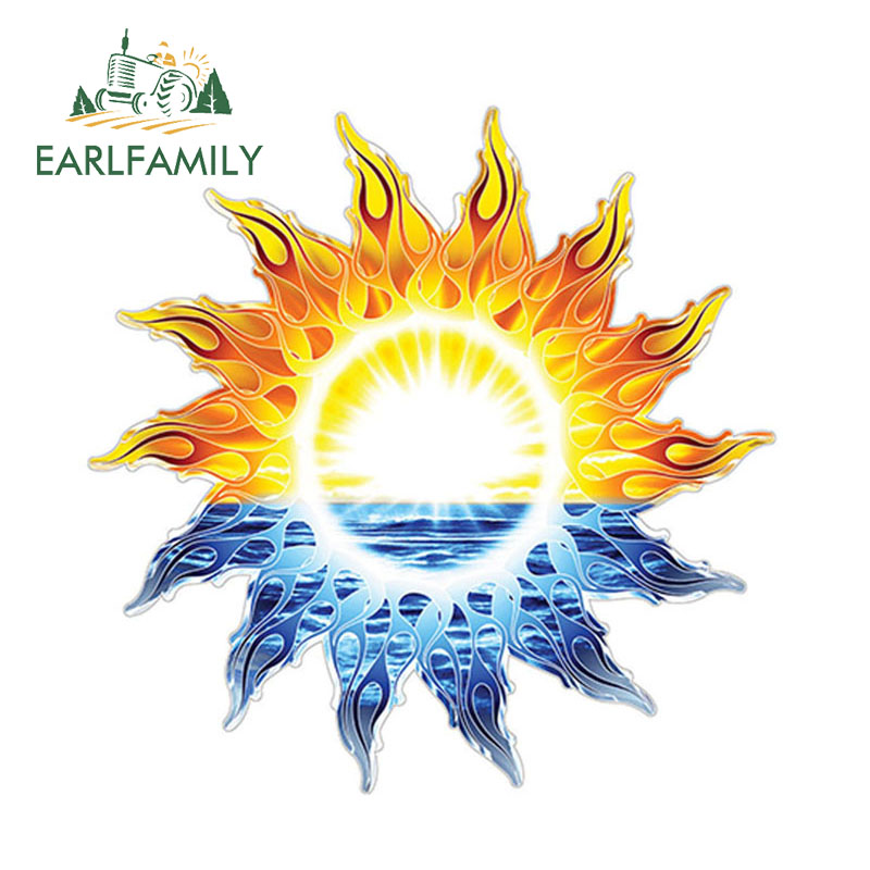 EARLFAMILY 12cm x 12cm RV Trailer <font><b>Motorhome</b></font> Camper <font><b>Decal</b></font> Tribal Sun Ocean Graphic <font><b>Sticker</b></font> Tropical Waterproof Accessories image