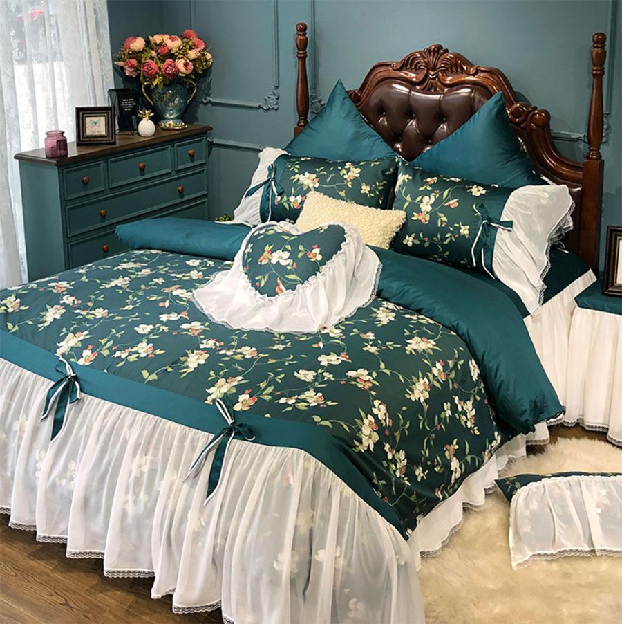 Ensemble de literie florale pastorale verte fille, textiles de maison pleine reine 60s en peluche coton double robe de lit taie d'oreiller housse de couette