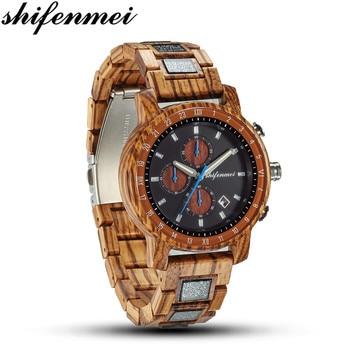 Shifenmei Watches Mens Quartz Watch Fashion Wooden Wristwatch Full Wood Watches Men Luxury Brand Casual Clock 5573 eco friendly green sandal wood watches mens quartz wooden watch with date