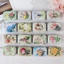1 Pza Vintage flor impresión Mini caja de lata para joyería boda Favor caja de dulces de Metal cajas de almacenamiento decorativas regalo hogar