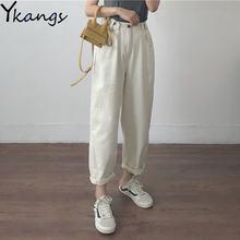 Хлопковые белые свободные Джинсы бойфренда женские джинсы с