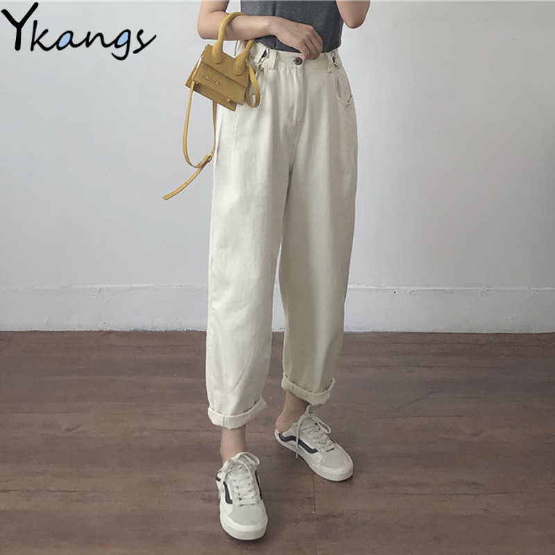 Cotton White Loose Boyfriend Denim Pants Women High Waist Plus Size Mom Jeans Black Spring Beige Blue Banana Jeans Streetwear