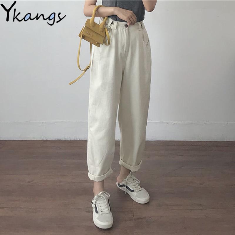 Cotton White Loose Boyfriend Denim Pants Women High Waist Plus Size Mom Jeans Black Spring Beige Blue Banana Jeans Streetwear